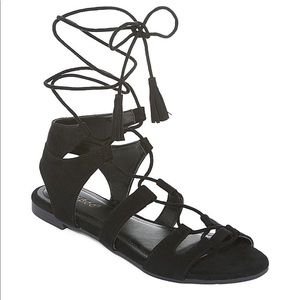 NWT Bamboo sacred black suede sandals